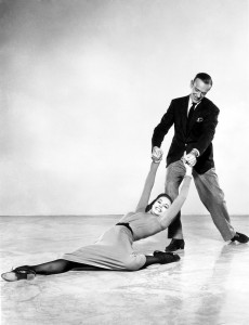 July 1957: Film star dancers Fred Astaire (Frederick Austerlitz) (1899 - 1987) and Cyd Charisse (Tula Ellice Finklea/Lily Norwood) as they appear in 'Silk Stockings' which opens at the Empire Theatre on August 1st 1957.
