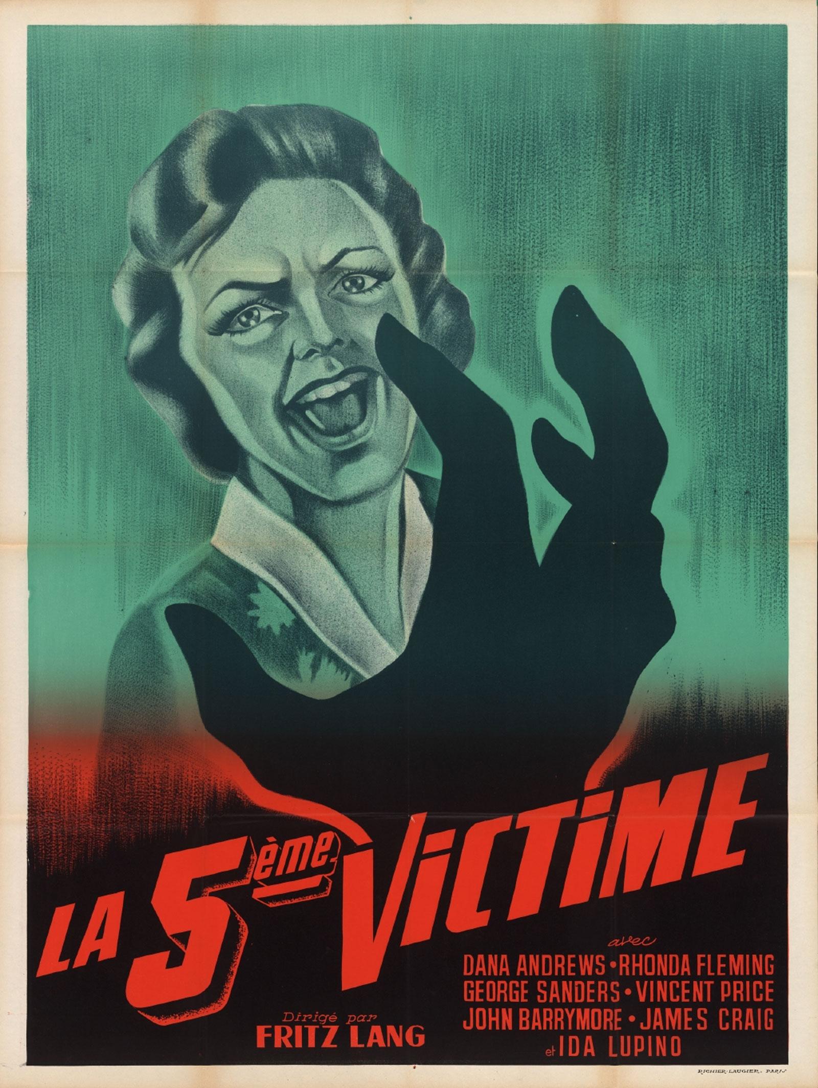 """Affiche de """"La 5ème victime"""" de Fritz Lang"""